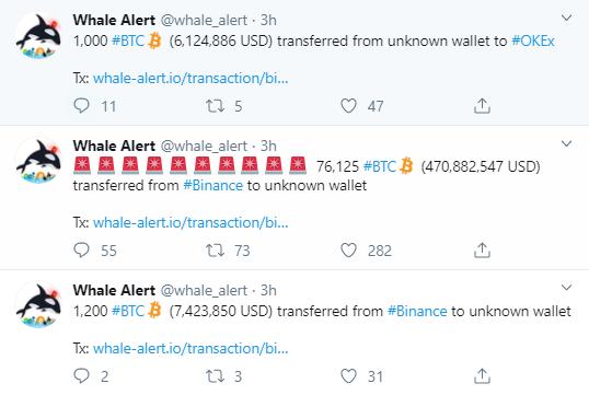 whale alert binance crypto prezzi in tempo reale